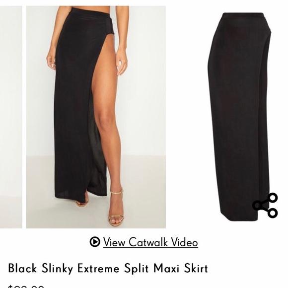 ec38bba688 PrettyLittleThing Skirts | Black High Split Maxi Skirt | Poshmark